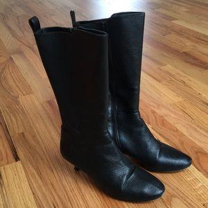 DKNY calf height kitten heel black leather boots